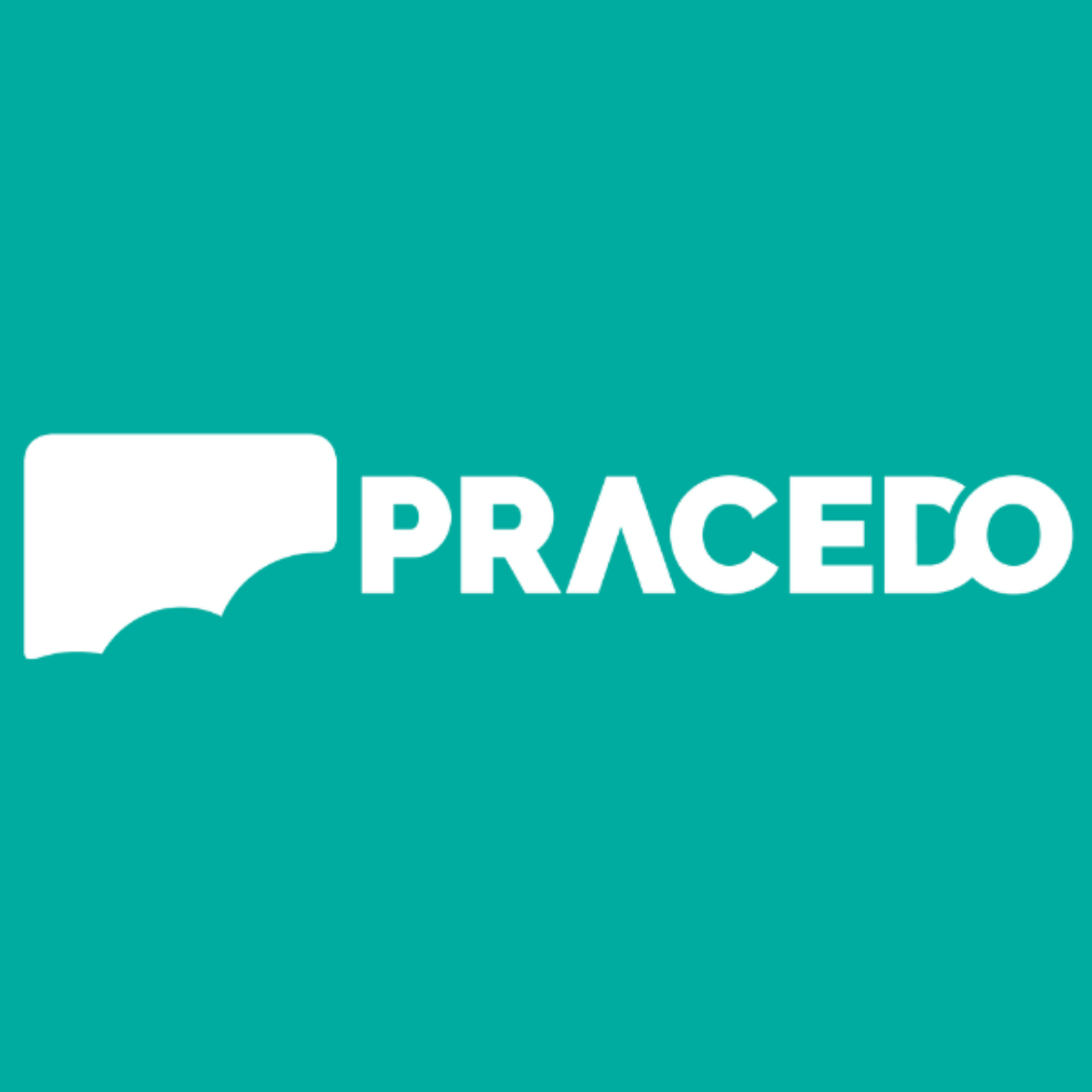 The Pracedo Logo on a green background